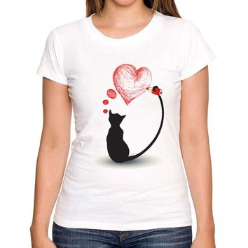 Heart and the Black Cat T-shrit