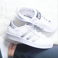"""ADIDAS"" Trending Fashion Casual Sports Shoes Silver grey"
