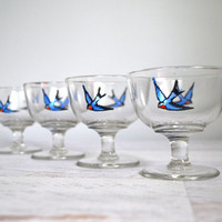 Vintage Bluebird Cocktail Glasses, Set of 4 Dainty Champagne Glasses Painted Blue Swallow Birds, Elegant Table Decor, Worn Gold Rim