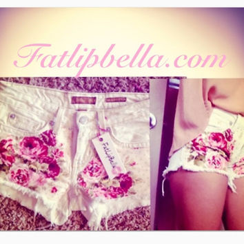 White denim floral print low waist only shorts by FatLipBella