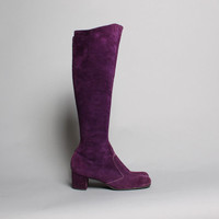 60s PURPLE Tall BOOTS / Knee High Suede Leather Boots, 8