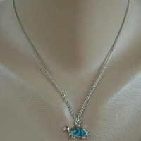 Felch Maybe 1982 Turtle Necklace Earring SET Turquoise Rhodium