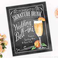 Personalized Signature Drink Sign | Illustrated Cocktail Party Decoration- Engagements-Showers-Rehearsals-Weddings | Peach Wedding Bell-ini