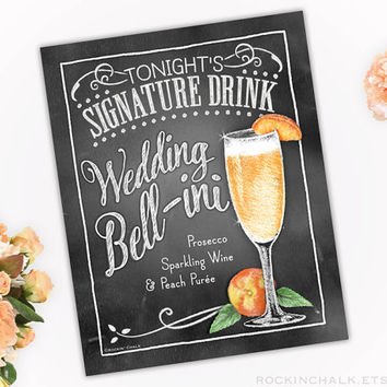 Personalized Signature Drink Sign   Illustrated Cocktail Party Decoration- Engagements-Showers-Rehearsals-Weddings   Peach Wedding Bell-ini
