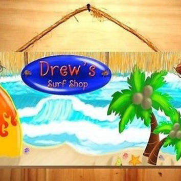 Kids Door Sign Surf Shop Surfing Boys Key West Room Personalized Name DS0264