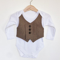 6-9 mths baby waistcoat Onesuit/baby vest, light brown herringbone, baby wedding outfit, baby suit, baby boy clothing, Etsy UK