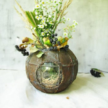 Vase and vessel recycled glass Etsy dudes Industrial urban  OOAK Home decor steampunk rusty bathyscaphe planter,  gift for him, heavy metal