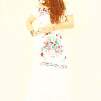Aura Mexican embroidered dress fiesta wedding white cotton long ruffled maxi dress off shoulder by Aida Coronado