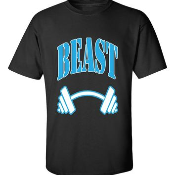 Beast BLUE Couples GYM Workouts Valentine's Day Gift T-Shirt