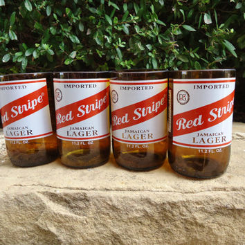 Recycled Red Stripe Beer Bottle Glasses  Set of 4