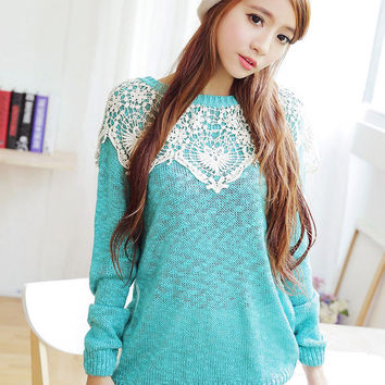 Crochet Lace Patchwork Long Sleeve Sweater