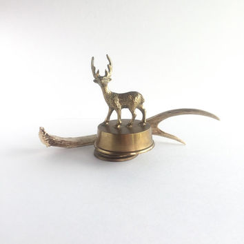 Vintage Brass Deer or Elk Music Box