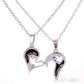 One Pair Men's Women's Lover Couple I Love You Alloy Rhinestone Heart Shape Pendant Choker Chain Necklace 2I61