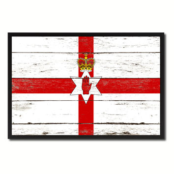 North Irish Ulster City Northern Ireland Country Flag Vintage Canvas Print with Black Picture Frame Home Decor Wall Art Collectible Decoration Artwork Gifts