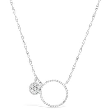 .10 cttw Diamond Double Circle Sterling Silver Pendant Necklace