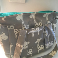 Giraffe Nappy Bag New Large Sizer XL Diaper Bag  with NEW Zippered Pocket in Front USE mishmash16 to get 15% off