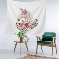 Unicorn Floral Boarder Magical Custom Printed Unique Dorm Decor Apartment Decor Trendy Wall Art Printed Wall Hanging Wall Tapestry