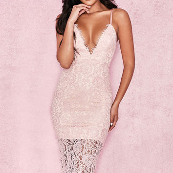 Clothing : Bodycon Dresses : 'Edeta' Pink Lace Plunge Dress