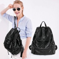College Hot Deal On Sale Back To School Comfort Simple Design Stylish Rinsed Denim Soft Casual Backpack [8940755335]