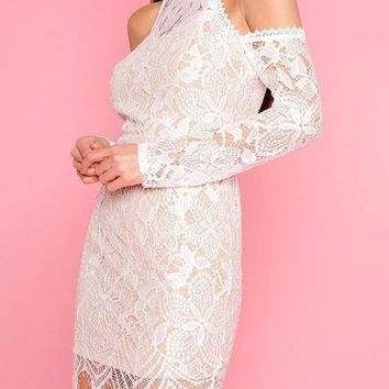 White Patchwork Lace off-the-shoulder Irregular Bodycon Prom Evening Party Mini Dress