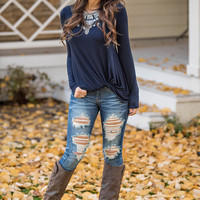 Sealed With a Twist Long Sleeve Top (Navy)