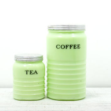 Jadeite Coffee Tea Pyrex Canister - Ribbed