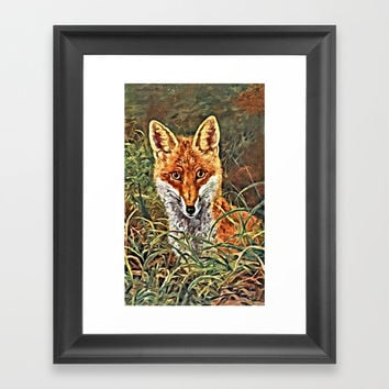 Fox In the Forest Framed Art Print by Digital Effects