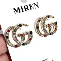 GUCCI Newest Stylish Women Chic Shiny GG Colorful Diamond Earrings Accessories Jewelry