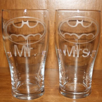 Two Etched Batman Wedding Pint Glasses