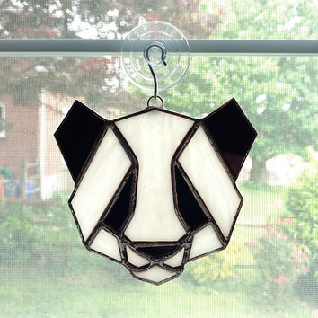 Panda Stained Glass Suncatcher - Panda Ornament - Black and White - Glass Animal - Origami Panda - Geometric Art - Bear - Zoo Animal