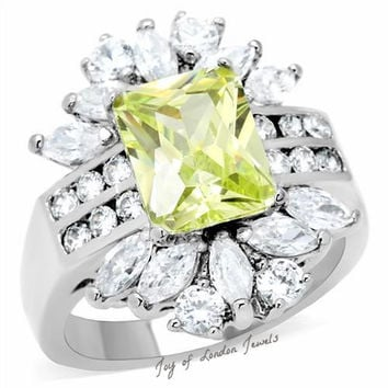 A Perfect 4CT Emerald Cut Bright Yellow Citrine Russian lab Diamond Ring