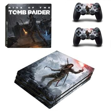 Game Tomb Raider PS4 Pro Skin Sticker For Sony PlayStation 4 Console and 2 Controllers PS4 Pro Stickers Decal Vinyl