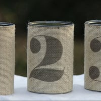 Table Number Tin Can. Rustic and Fall Wedding Decor. Country Style Wedding. Set of 3 Tin Can Burlap.