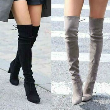 Women Faux Suede Thigh High Boots Fashion Over the Knee Boot Stretch Sexy Overknee High Heels Woman Shoes Black Gray