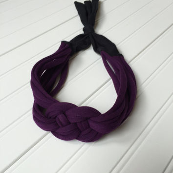 Sailor Knot headband in egg plant purple with tie back, women's gifts, women's hair accessories, work out accessories, jersey knit headband