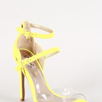 Qupid Neon Lucite Double Buckle Strappy Stiletto Heel