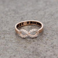 Best Friend Infinity ring Cubic Zirconia Setting in Rose Gold Color