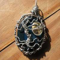 Blue Geode Tree of Life Pendant with Moon
