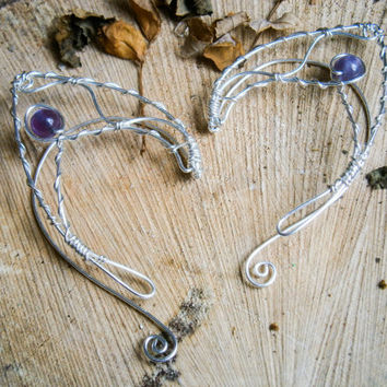 Silver plated earcuffs,elf ear cuffs,elven earcuffs with amethyst gem,statement earrings,woodland,vulcan ears,purple,arwen,lord of the rings