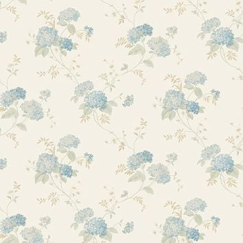 "Floral Prints II 32.7' x 20.5"" Mini Hydrangea Trail Wallpaper"