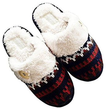 Womens Cozy Warm Scottish Stitch Memory Foam House Slippers