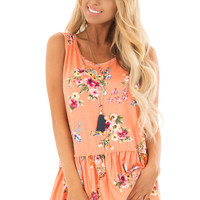 Peach Floral Tank Top with Ruffle Details
