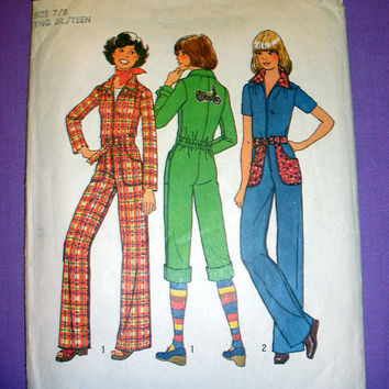 Teen Jumpsuit Junior Size 7-8 Vintage 1970's Simplicity 7642 Sewing Pattern Sew Retro