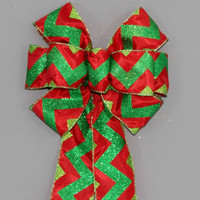 Red Green Glitter Chevron Christmas Bow