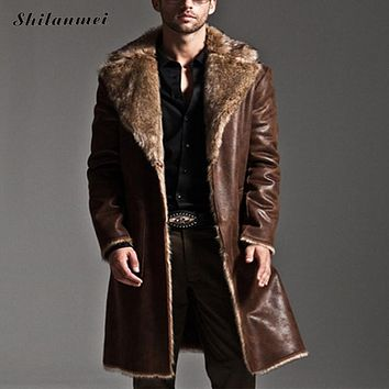 2017 Winter Reversible men's overcoat Faux Fur Coat Jackets Full Length Parka Coats erkek mont casaco masculino plus size S-7XL