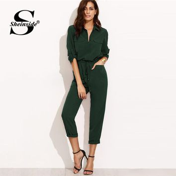 Sheinside Green Jumpsuit Woman Clothes Jumpsuits For Women Overalls Tie Waist Rolled Sleeve Equipment Jumpsuit