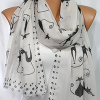 Cat Print Scarf Off-White Scarf Black Cat Scarf Meow Scarf Lightweight Scarf Spring Scarf Summer Scarf Gift Ideas For Her For Mom ESCHERPE