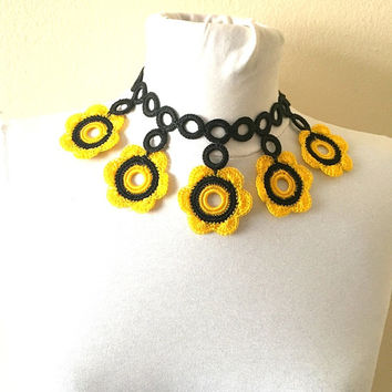 Floral Lariat Necklace, Boho Jewelry, Turkish Oya Crochet Necklace, Black And Yellow, Fiber Art Jewelry, Mothers day Gift