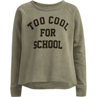 Full Tilt Too Cool For School Girls Sweatshirt Grey  In Sizes