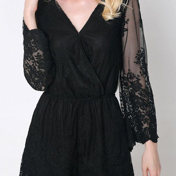 Flare Sleeve Laciness Wrap Romper